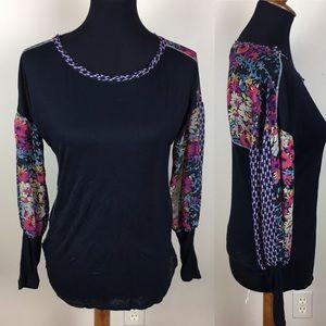 Tiny Anthropologie mixed print blouse size XS